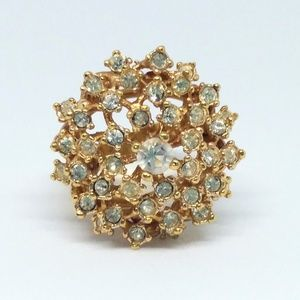 18k HGE Yellow Gold Plated Cluster Ring